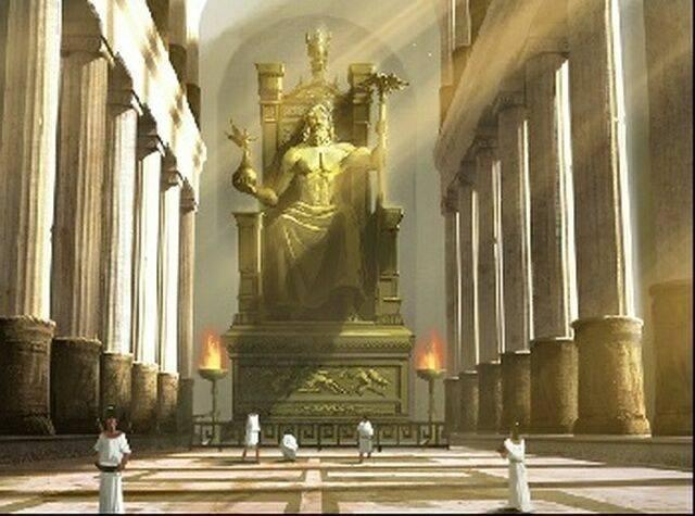 Скульптура зевса олимпийского в храме зевса